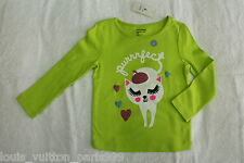 New Baby GAP White Cat Lime Green Long Sleeves for Toddlers (Size 2 yrs)