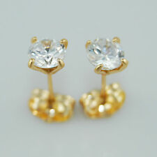 18k Yellow Gold Filled Stud Earrings with 6mm Swarovski 1.25ct Zircon Crystals