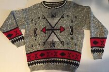 VTG 80s Unisex FuNkY NAVAJO AZTEC Indian Print Tribal Southwestern Sweater M-L