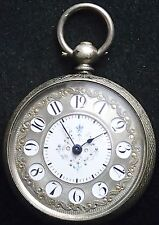 "Solid Silver Crisp Victorian Pocket Watch Enamel & Silver ""Telephone"" Dial c1880"