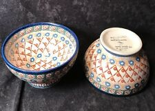 "2 UNIKAT POLISH POTTERY 5 1/2"" Footed Soup Rice Noodle Bowls A. Pascierbiewicz"