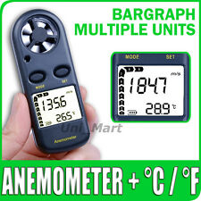 Anemometer Thermometer Temp Air Wind Speed Velocity Flow Meter Bar Graph °C °F