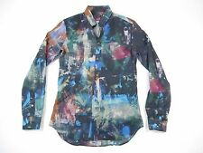 PAUL SMITH PNSD 164L BLUE ORANGE ART SMALL SLIM FIT BUTTON DOWN SHIRT MENS NWT
