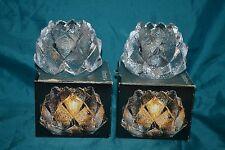 2 Orrefors Firefly Crystal Artichoke Pinecone TeaLight Candle Holder NIOB