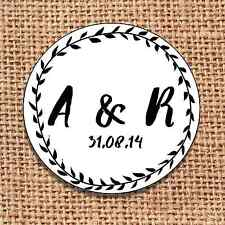 Wedding favour 24 stickers save the date personalised  monochrome d2