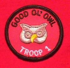 GOOD OL OWL Round Patrol Patch Wood Badge Course Cub Boy Scout beads BSA