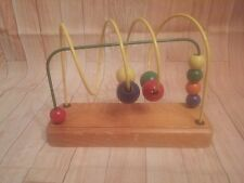 Vintage Childrens Colorful Wooden Mini Around Beads Educational Game Toy