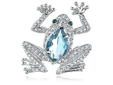 Blue Cat Eye Aquamarine Crystal Rhines Frog Animal Fashion Jewel Brooch B0278 UK
