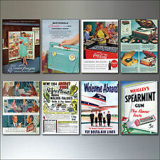 8 Vintage Retro Magazine Advert 1950s reproduction Fridge Magnets