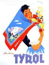 ART PRINT POSTER VIAGGIO Tirolo Austria Donna Tradizionale abito fiori nofl1406