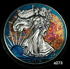 2015 Rainbow Toned Silver American Eagle Coin 1 ounce silver uncirculated #a273