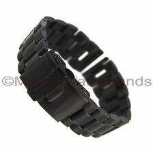 24mm Milano PVD Black Stainless Solid Link Double Lock Fold Over Clasp WatchBand