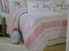 Maggie Miller Children's Collection Floral/Stripe Twin Quilt ~ Pink, Blue, Green