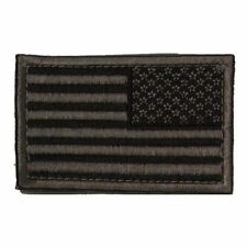 Subdued Grey Black Velcro Backed USA Stars and Stripes Flag 2x3in Reversed