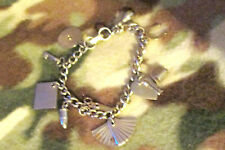 "Vintage Coro Signed 6"" Charm Bracelet With 10 Charms Lie Detector My Diary"