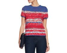 NWT $525 Tory Burch Blue White Brilliant Red Chunky Knit Cotton Sweater M Medium