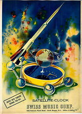 1959 ADVERT 2 Sided Swiss Music Corp Satellite Clock Futuristic
