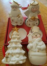 NIB JCPENNEY HOME 4 IVORY BISQUE Christmas Ornament Angel Santa Tree Snowman 5""