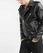 NWT ZARA MAN LEATHER JACKET BLACK SIZE S