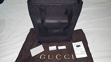 GUCCI BLACK  AND LEATHER TRIM GG DEMIN HANDBAG brand new 13X15 REG $595.00