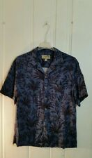 HAVANA JACK'S CAFE BLUE HAWAIIAN CAMP SHIRT SHORT SLEEVE FLORAL MOTIF LARGE