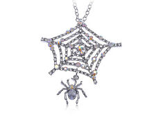 US Spider Web Iced Out Diamante Clear Rhinestone Custom Pendant Necklace