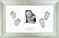 New Baby Casting Kit Twins 3D Casts Christening Gift Antique Silver Photo Frame