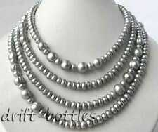 71'' Gray Flat Round 11MM Round Freshwater Pearl Necklace
