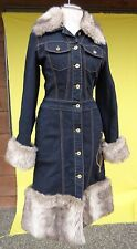 Baby Phat Denim Faux Fur Long Jean Jacket Coat Womens Size Small NWOT