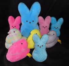 LOT OF 9 PEEPS PINK BLUE YELLOW BABY BUNNY RABBIT CHICK STUFFED ANIMAL PLUSH TOY
