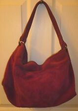 Lucky Brand Plum Purple Suede Slouchy Shoulder Bag Hobo Satchel