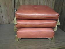 vintage/retro vinyl 3 cushion stacking rolling stool/ottoman