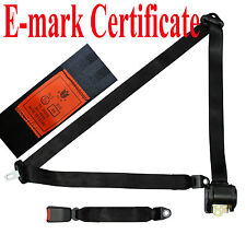 New Black 3 Point Retractable Car Seat Belt Universal