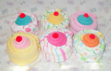 6 Baby Burp & Washcloth Cupcakes Great Shower Decoration Idea! CUTE CUTE!!