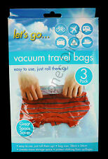VACUUM TRAVEL STORAGE BAGS X3 SPACE SAVING PROTECT CLOTHING SUITCASE COMPRESSION