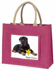 'Happy Easter' Rottweiler Dog Large Pink Shopping Bag Christmas Pr, AD-RW3DA1BLP