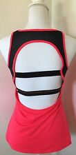 Fabletics Gulf Tank Top Size M Open Strappy Back Hot Coral Black Mesh Workout