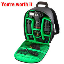Hot Waterproof DSLR Backpack Case Bag For Canon Nikon Sony Camera Lens Black EM