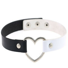 Fashion Goth Rivet Punk Ring Collar Choker Necklace Heart Leather