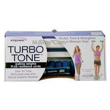 NIB Turbo Tone Walking Weights + Resistance Cords Effective Cardio Fast Workout