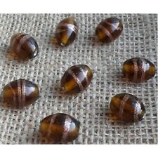 10 HANDMADE INDIAN LAMPWORK GLASS BEADS ~ 15mm Amber Oval ~ 55