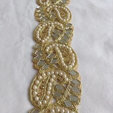 Vintage Indian Gold Lace Trim Pearl Beaded Ribbon Bridal Crafts Dress Sewing 1M