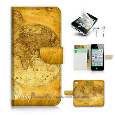 iPhone 4 4S Print Flip Wallet Case Cover! World Map P1442