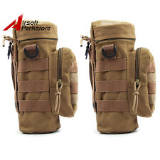 2pcs Molle Belt Water Bottle Pouch Holder for Outdoor Camping Hiking Hunting Tan