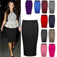 NEW WOMENS LADIES MIDI PENCIL PLAIN STRIPED BODYCON HIGH WAIST TUBE WIGGLE SKIRT
