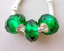 3 pcs Faceted Glass Beads. Green. Fits European Charm Bracelet and Necklace G10