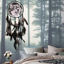Handmade Dream Catcher Black Feathers Car Wall Hanging Decoration Ornament -Wolf