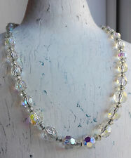 VINTAGE GORGEOUS AURORA BOREALIS AB FACETED GLASS CRYSTAL BEAD CHAIN NECKLACE