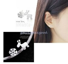 925 Sterling Silver - Reindeer Snowflake Korea Club Asymmetric Mini Earrings