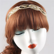 VINTAGE DECO FLAPPER 20s IVORY BLACK  BEAD SILVER DIAMANTE HEADBAND WED BRIDAL